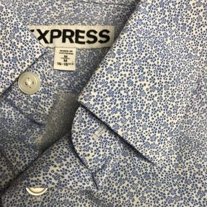 Express Blue Floral Print Dress Shirt